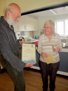 Sheila in 2012 when presented with a 50 years of service to Ramblers certificate